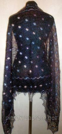 """Палантин вышитый """"""""Южная ночь"""""""" П-00213, сине-фиолетовыймеланж, оренбургский шарф (палантин)"""