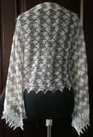 Шарфик П-00192, серый-берый, оренбургский шарф (палантин)
