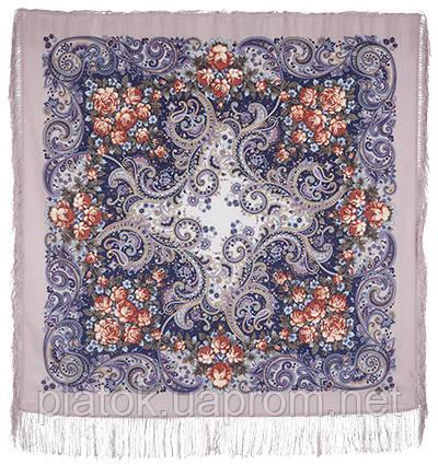 Секрет успеха 1635-1, павлопосадский платок шерстяной (двуниточная шерсть) с шелковой бахромой