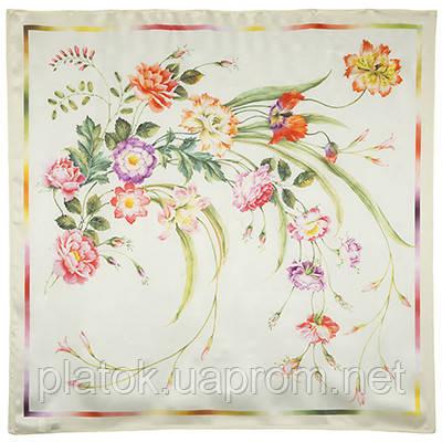Лунный сад 10018-0, павлопосадский платок (атлас) шелковый с подрубкой