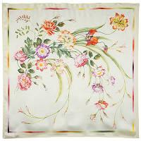 Лунный сад 10018-0, павлопосадский платок (атлас) шелковый с подрубкой   Первый сорт    СКИДКА!!!