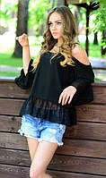 Черная блуза свободного кроя