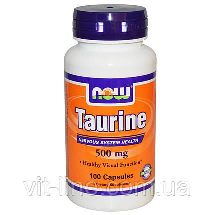Now Foods, Таурин, 500 мг, 100 капсул, фото 2