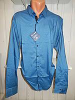 Рубашка мужская  Enisse длинный рукав, батал, стрейч, мелкий узор, заклепки 002 \ купить рубашку