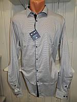 Рубашка мужская  Enisse длинный рукав, батал, стрейч, мелкий узор, заклепки 003 \ купить рубашку