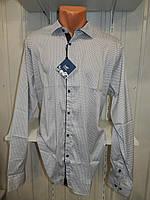 Рубашка мужская  Enisse длинный рукав, батал, стрейч, мелкий узор, заклепки 006 \ купить рубашку