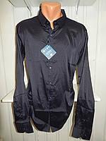 Рубашка мужская  Enisse длинный рукав, батал, стрейч, мелкий узор, заклепки 007 \ купить рубашку