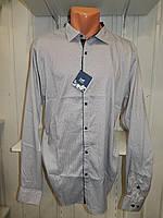 Рубашка мужская  Enisse длинный рукав, батал, стрейч, мелкий узор, заклепки 008 \ купить рубашку