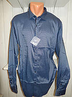 Рубашка мужская  Enisse длинный рукав, батал, стрейч, мелкий узор, заклепки 009 \ купить рубашку