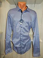 Рубашка мужская  Enisse длинный рукав, батал, стрейч, мелкий узор, заклепки 010 \ купить рубашку