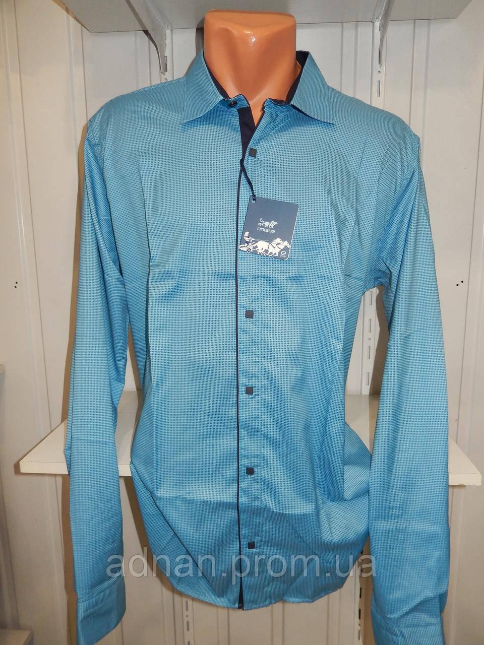 Рубашка мужская  Enisse длинный рукав, батал, стрейч, мелкий узор, заклепки 011 \ купить рубашку