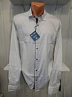 Рубашка мужская  Enisse длинный рукав, батал, стрейч, мелкий узор, заклепки 012 \ купить рубашку