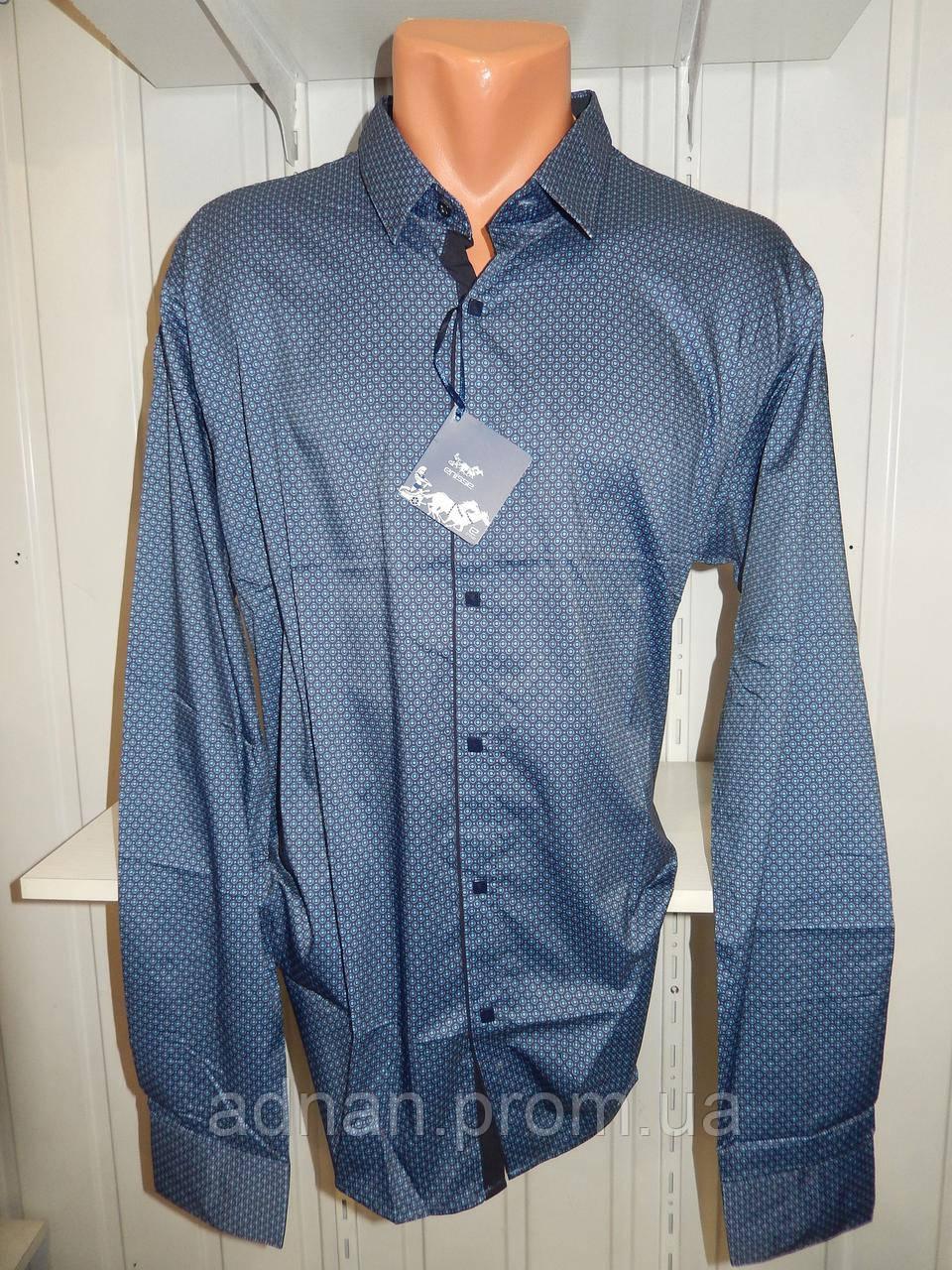 Рубашка мужская  Enisse длинный рукав, батал, стрейч, мелкий узор, заклепки 013 \ купить рубашку