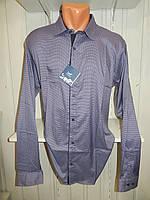 Рубашка мужская  Enisse длинный рукав, батал, стрейч, мелкий узор, заклепки 014 \ купить рубашку