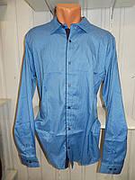 Рубашка мужская  Enisse длинный рукав, батал, стрейч, мелкий узор, заклепки 016 \ купить рубашку