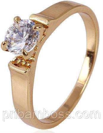 Кільце позолота Gold Filled, циркони розмір 16