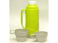 Термос со стеклянной колбой 1 л (2 чашки) T42-1, пластиковый термос со стеклянной колбой и двумя чашками