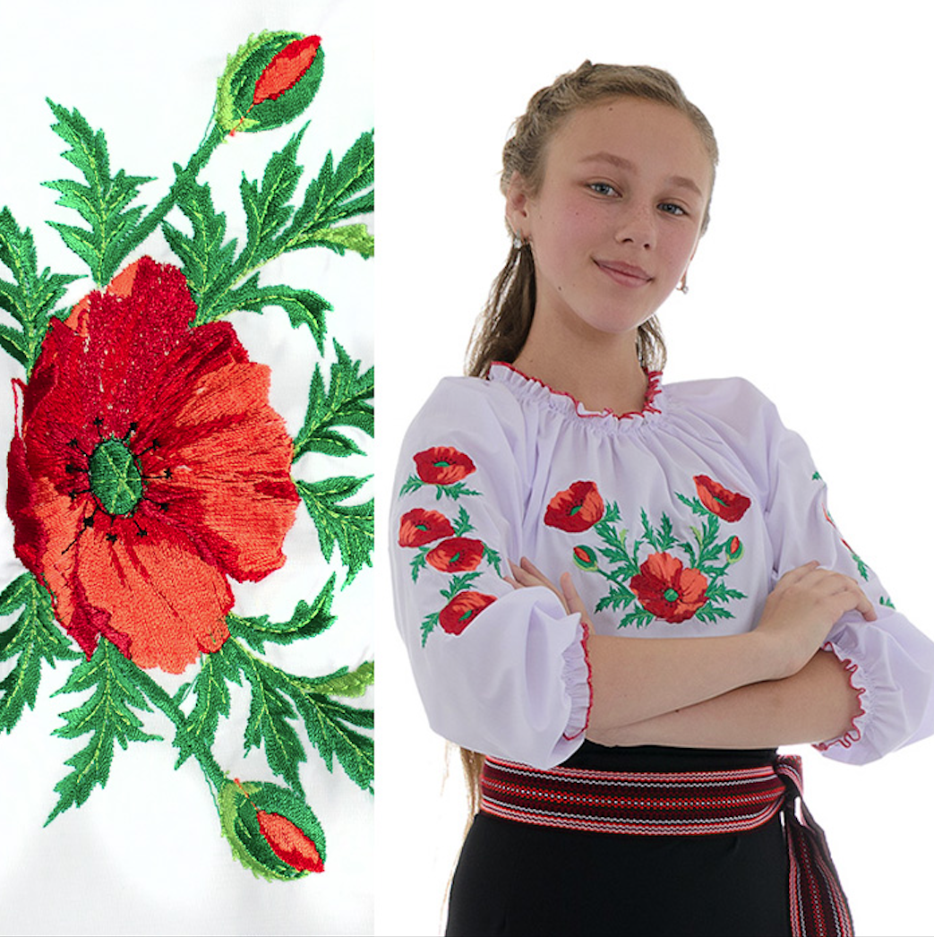 """Сорочка вишиванка """"Макова Роса"""" від 7 до 13 років"""