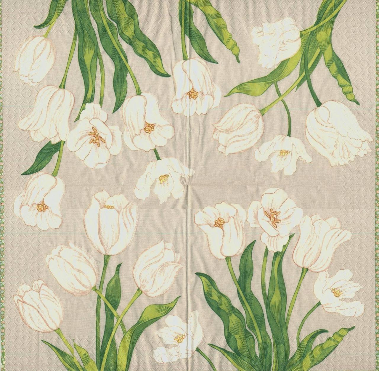 Редкая салфетка для декупажа Белые тюльпаны 6961