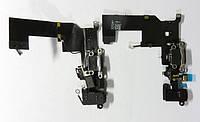 Шлейф для iPhone 5S, с разъемом зарядки, с коннектором наушников, с микрофоном, черный