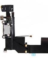 Шлейф для iPhone 5S, с разъемом зарядки, с коннектором наушников, с микрофоном, белый, оригинал (Китай)