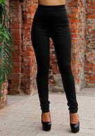 Женские черные лосины без карманов со шнуровкой с заде с завышенной талией