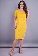 Амина. Яркое платье плюс сайз. Желтый.