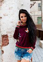Бордовый женский свитшот велюровый с вышивкой до длинного рукава