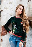 Зеленый женский свитшот велюровый с вышивкой до длинного рукава