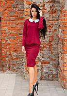 Женский велюровый костюм с юбкой до длинного рукава бордовый