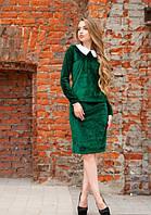 Женский велюровый костюм с юбкой до длинного рукава зеленый