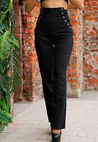 Стильные женски черные брюки со шнуровкой на талии с завышенной посадкой