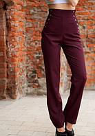 Стильные женски бордовые брюки со шнуровкой на талии с завышенной посадкой