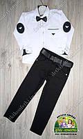 Нарядный костюм для мальчика: белая рубашка Armani и черные брюки