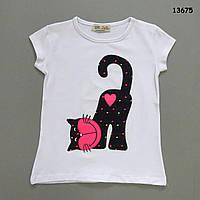 """Футболка """"Котик"""" для девочки.  110-116;  116-122 см"""