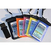 Водонепроницаемый чехол для мобильного телефона 18х10,5 см  (5 цветов)с ремнем на руку