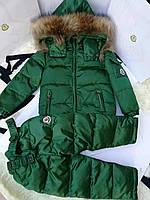Раздельный зимний комбинезон на пуху детский Moncler (зеленый).