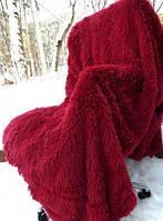 Очень пушистый бамбуковый плед-покрывало Турция бордовый