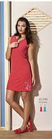 Платье летнее красное махровое на змейке с карманами и вышивкой Relax mode.