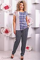 Жіночі літні вільні брюки з штапелю великого розміру 48-58 розміру, фото 1