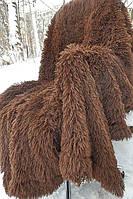 Шикарный пушистый плед-покрывало  коричневой