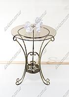 Стол 04 кованый+стекло бол. H-46 см 57*49 см бел.