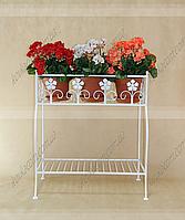 Подставка для цветов Мальва 2 H-75 см 66*37 см бел.