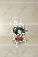 Подставка для цветов Стул 01 H-48 см 22*25 см бел.