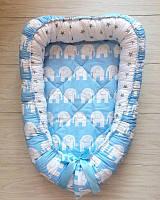 """Кокон для новорожденного """"Голубые слоны"""""""
