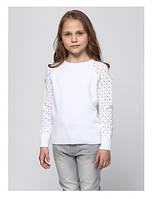 Свитер для девочек белый с ажурным рукавом