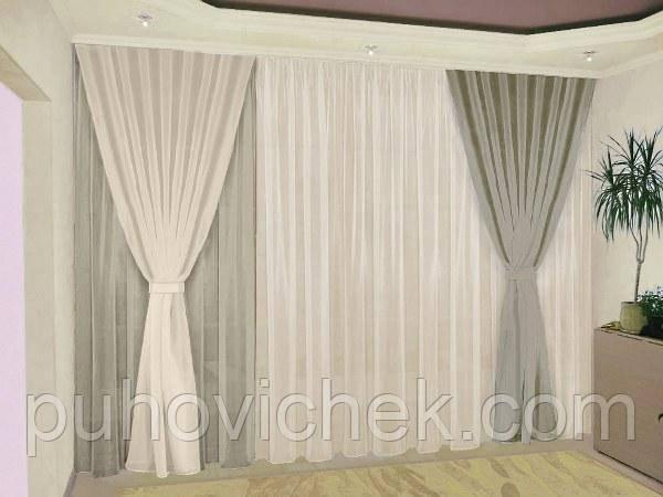 Комплект готовых штор для зала