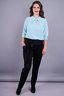 Джерси флис. Стильные женские брюки больших размеров. Черный.