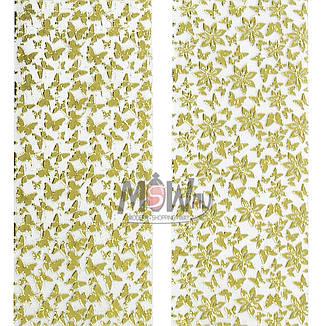 Наклейка-стикер 3D-Nail 2шт YK-082 золото цветы бабочки, фото 2