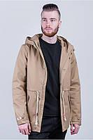 Парка мужская легкая, куртка бежевая 412K003-1